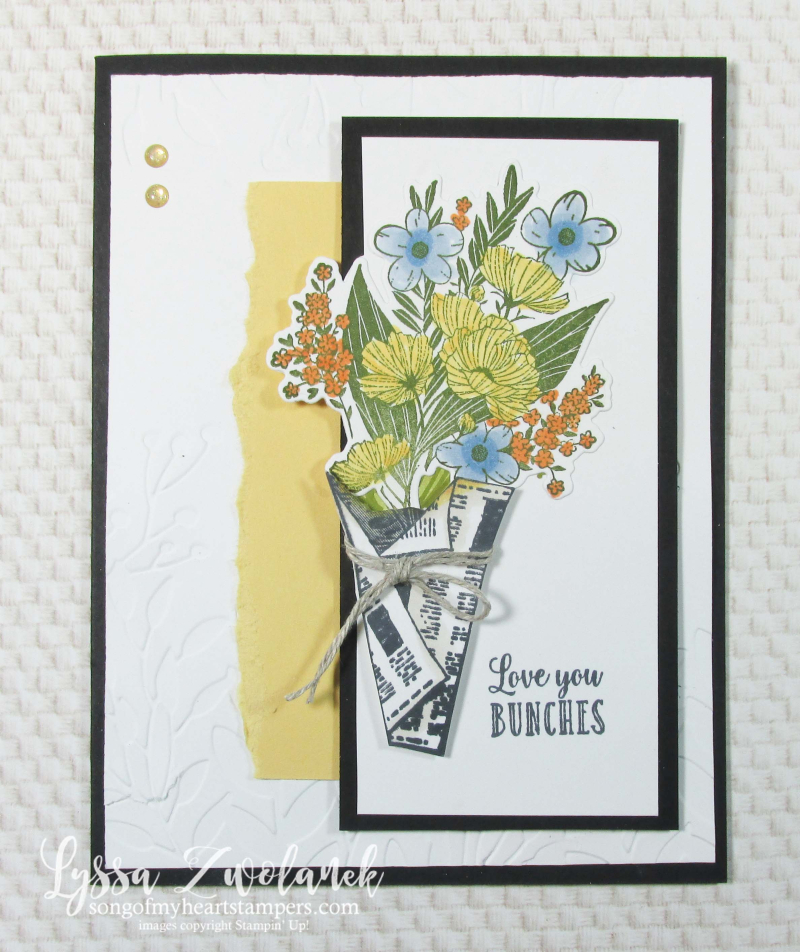Wrapped Bouquet stampin Up Lyssa newsprint newspaper flowers market love bunches card