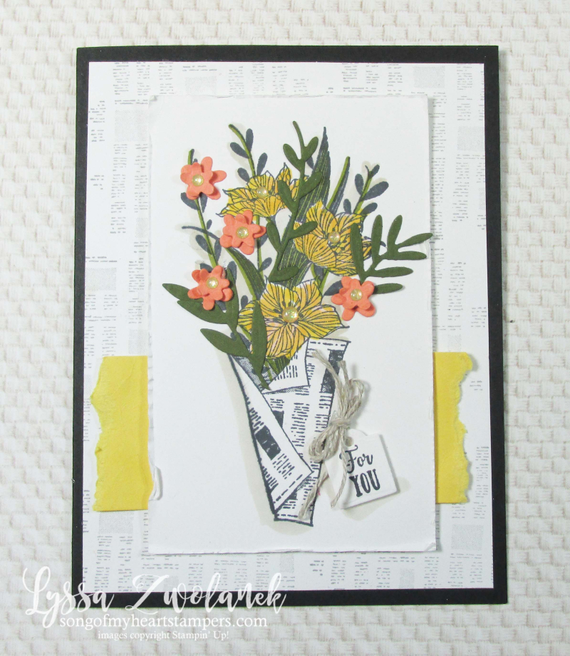 Wrapped Bouquet stampin Up Lyssa newsprint newspaper flowers market mothers day card