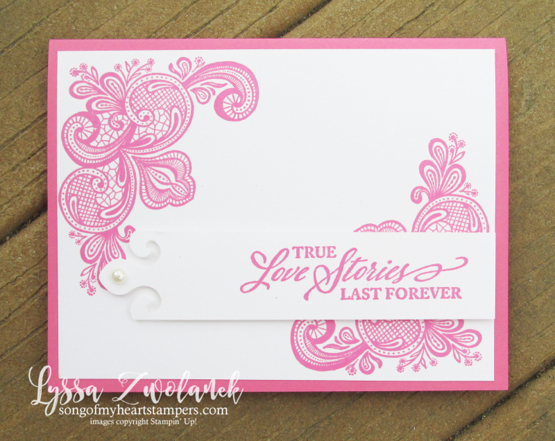 Polished Pink Simply Elegant Stampin Up card rubber stamps lace colors doily cardstock