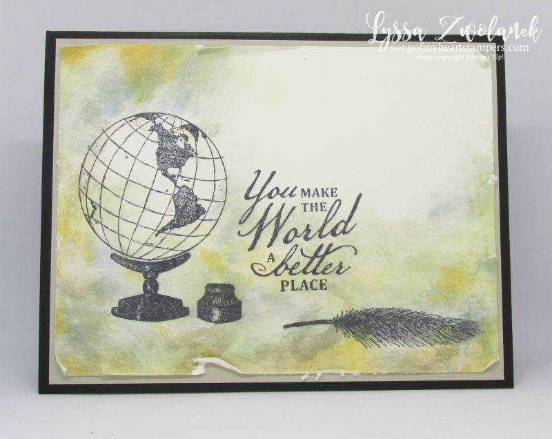Beautiful World collage antique globe inkwell quill Stampin Up rubber stamps cardmaking