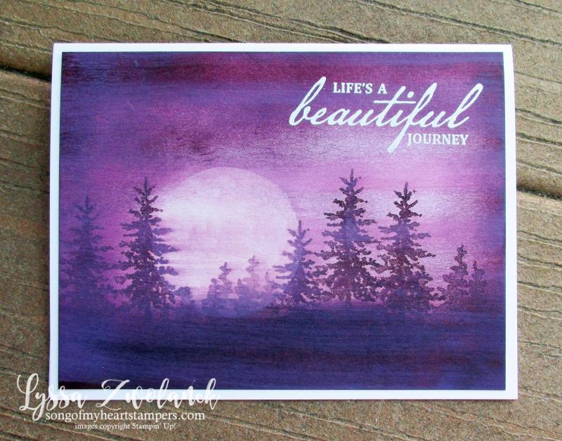 Purple velvet nightscape technique Snowfront stamp set Stampin Up Lyssa card DIY ideas