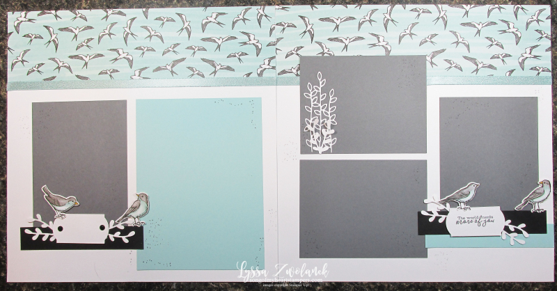 Suite Sampler Bird ballad My Layout Library Lyssa Stampin Up shoreline scrapbook pages 12x12 album