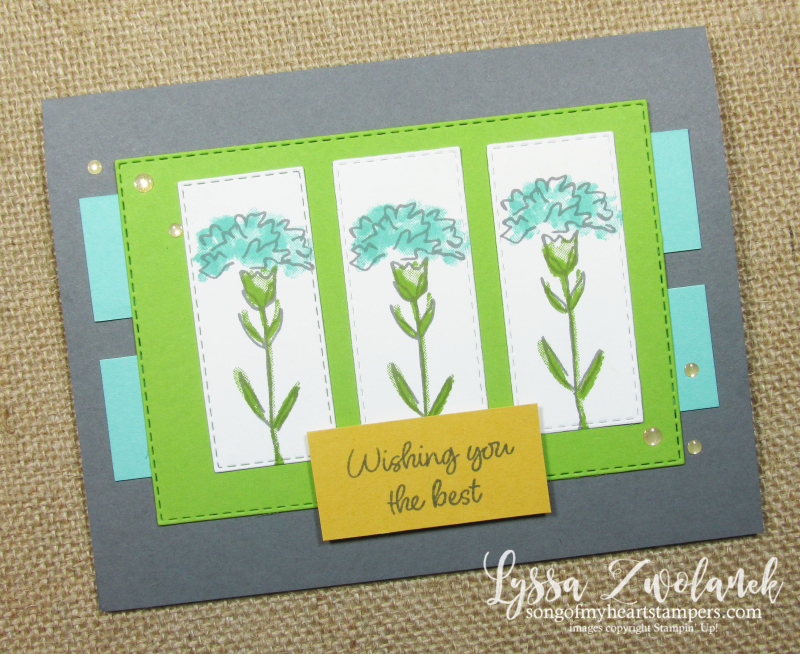 Carnation flowers layout Stampin Up Inspiring Iris stamps papercrafting DIY cardmaking