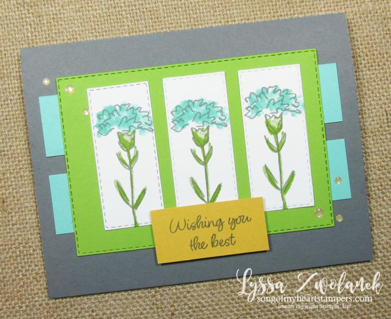 Carnation flowers layout Stampin Up Inspiring Iris stamps papercrafting DIY cardmaking