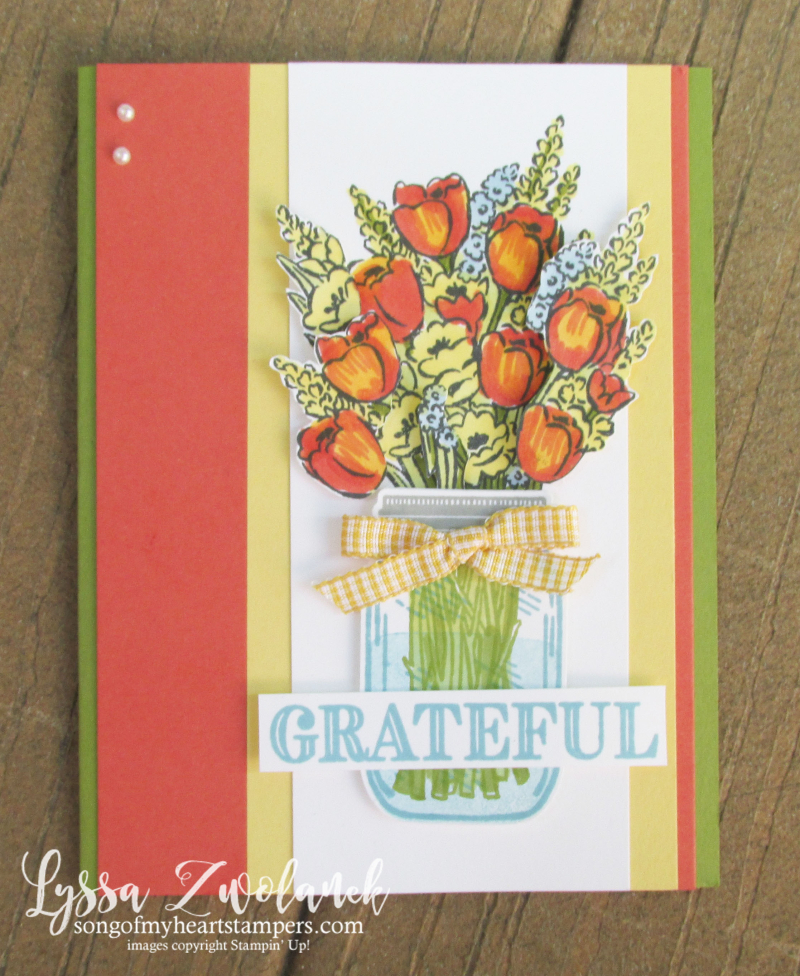 Jar of Flowers Ornate Thanks Stampin Up cardmaking DIY rubber stamping tulips tutorials