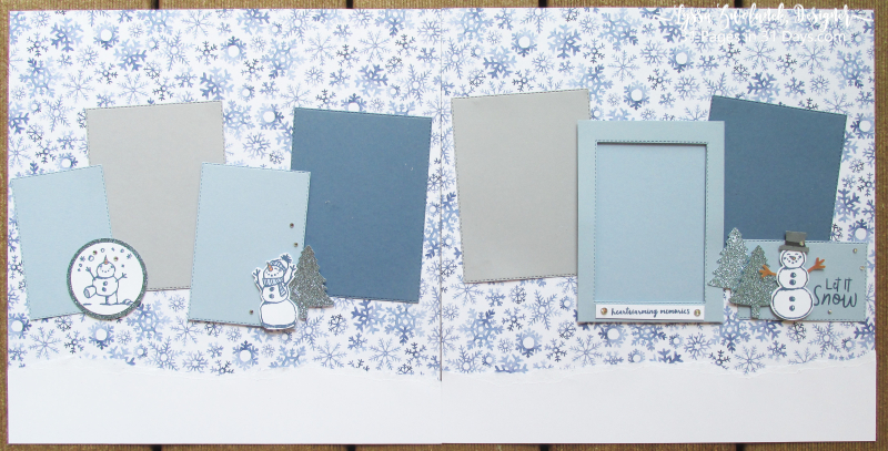 31 pages days winter album layouts scrapbooking Stampin Up 12x12 snowmen snow