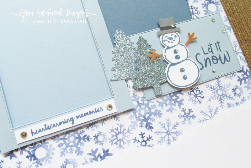 31 pages days winter album layouts scrapbooking Stampin Up snowman snow