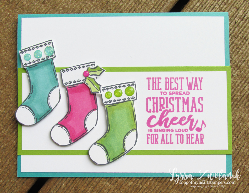Elf inspired Christmas cards Stampin Up stockings holiday cardmaking cheer singing loud DIY activity kids family