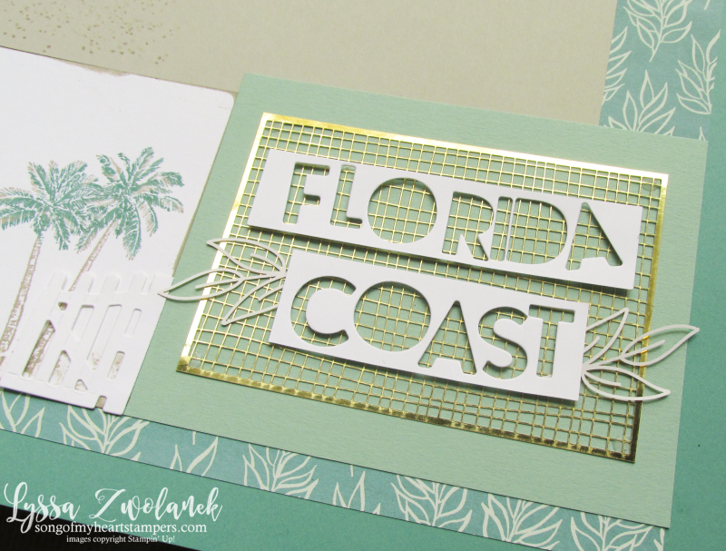 Forever gold greenery good taste scrapbook pages beach coast shore Stampin Up 12x12 papers