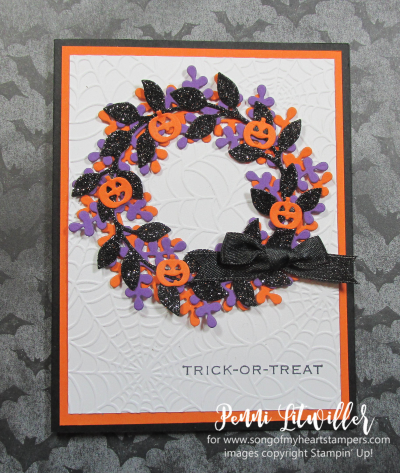 Halloween arrange a wreath Stampin Up DIY cardmaking supplies papers rubber stamps ink