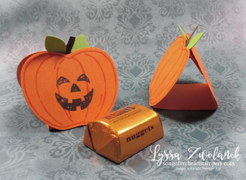 Halloween nugget holder treats apple pumpkin builder punch Stampin Up Lyssa DIY