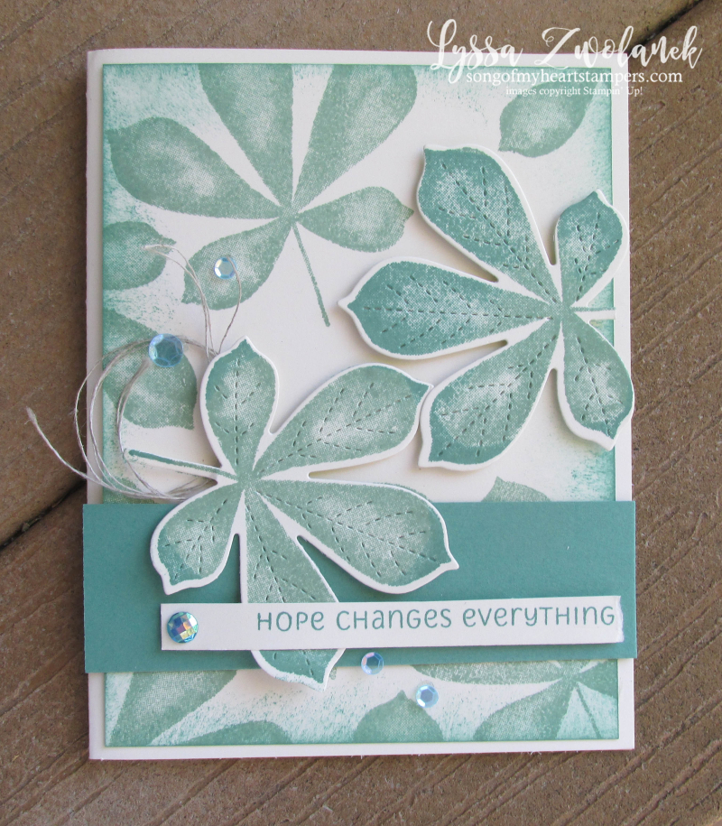 Love of Leaves Stampin Up class cardmaking Lyssa tutorial technique floating autumn fall jade