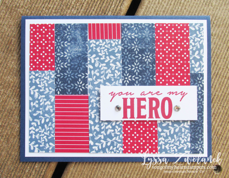 Honor Flight patriotic mail call cards veterans charity project Lyssa Stampin Up Heart SU quilt scraps