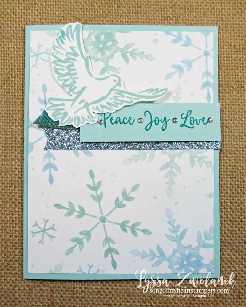 Dove of Hope peace earth goodwill Stampin Up Lyssa Christmas holiday greeting cards rubber stamps Snowflake Splendor
