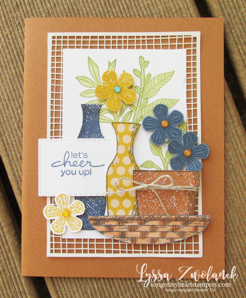Basket of blooms Stampin Up Lyssa punch blossom bloom class tutorial techniques layout cheer envelope