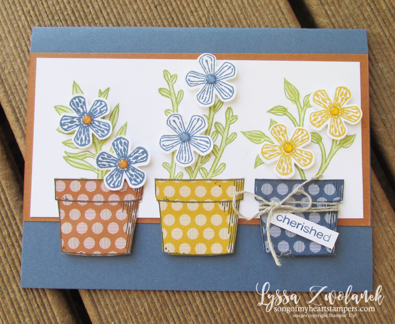 Basket of blooms Stampin Up Lyssa punch blossom bloom class tutorial techniques layout pots garden clay