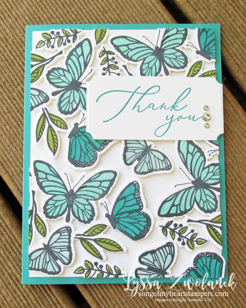 Butterfly floating fluttering Stampin Up spring stamps set dies techniques Lyssa