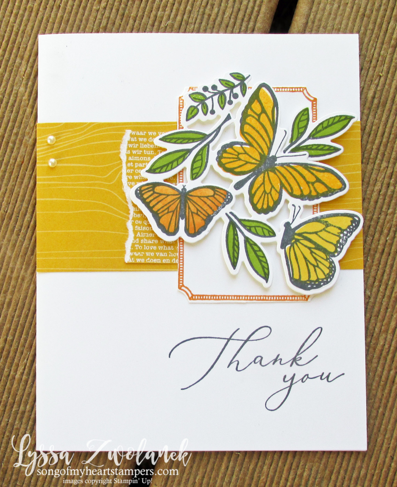 Butterfly floating fluttering Stampin Up spring stamps set techniques Lyssa