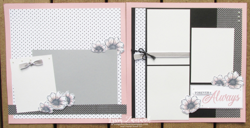 Love you always true Stampin Up specialty papers 12x12 scrapbook demonstrator layout Lyssa