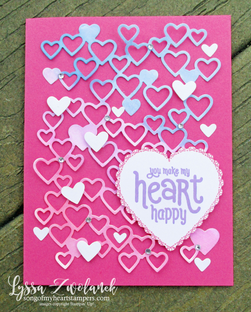 Detailed Hearts die watercolor technique Stampin Up Lyssa valentine love wedding anniversary cardmaking invites
