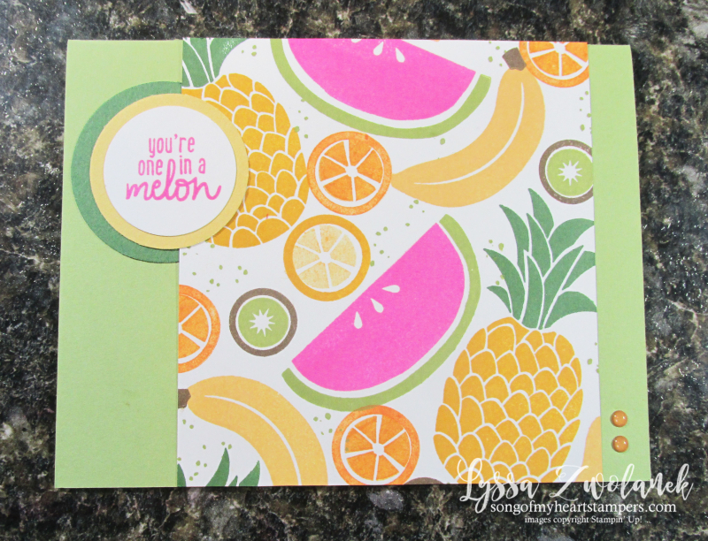 Cute fruit stamp set Stampin Up Lyssa tropical basket kiwi pineapple welcome banana rubber stamps