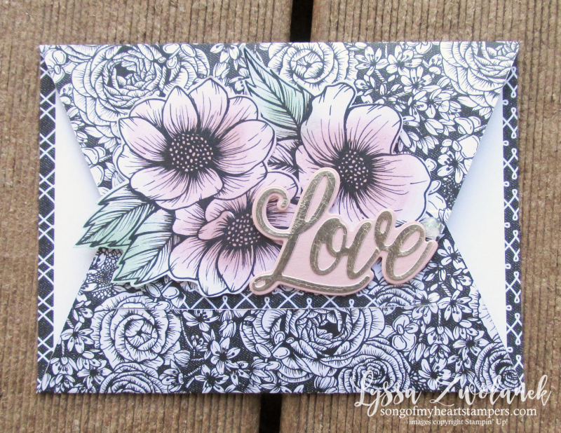 Always Heart true love valentine Stampin Up diagonal fancy fold 4 cut DSP