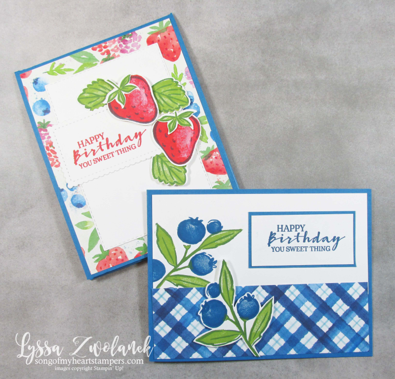 Berry blessings card fancy fold Saleabration Stampin Up delightful strawberry blueberry raspberry stamps