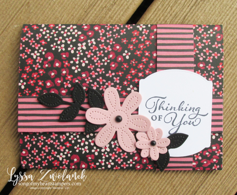 Four door fold fancy Lyssa scored DSP card tutorial free birthday DIY Stampin Up idea