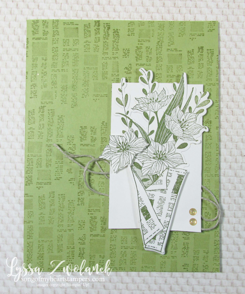 Wrapped Bouquet stampin Up Lyssa newsprint newspaper flowers mothers day card