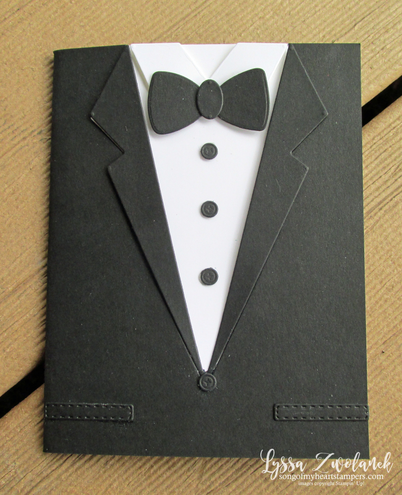 Tuxedo card wedding engagement congrats Stampin Up shirt tie Well Suited Hello Handsome