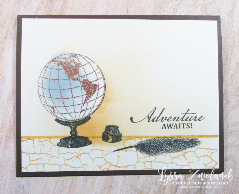 Beautiful World map globe quill desk rubber stamps Stampin Up masculine guy cards ideas