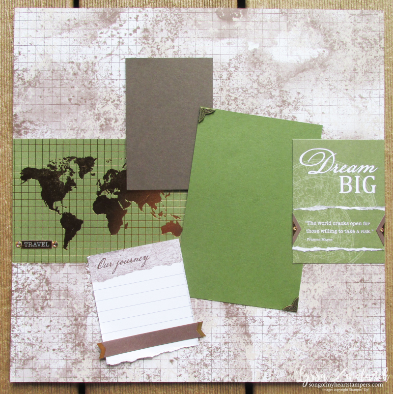 World Good globe travel journey adventure scrapbook graduation map Stampin Up 12x12 layout Lyssa