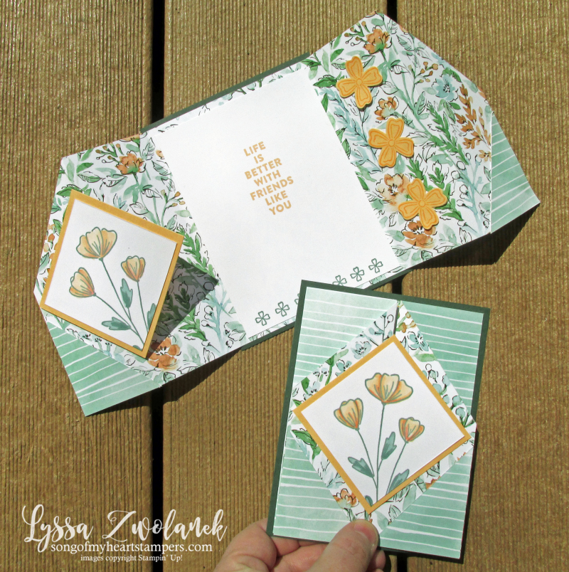 Triangle gate fold in colors Stampin Up tutorials free ideas Lyssa
