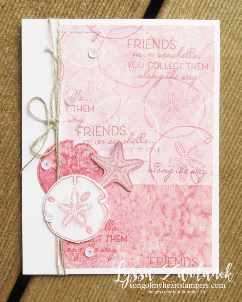 Friends Seashells sand sea Stampin Up rubber stamps supplies ideas techniques shells beach scrapbooking papers