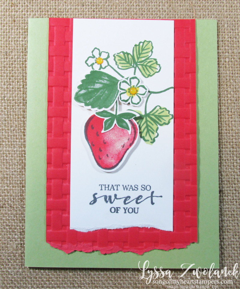 Sweet strawberry blessings Stampin Up basket weave folder Lyssa SAB 2021 layout punch bundle cardmaking