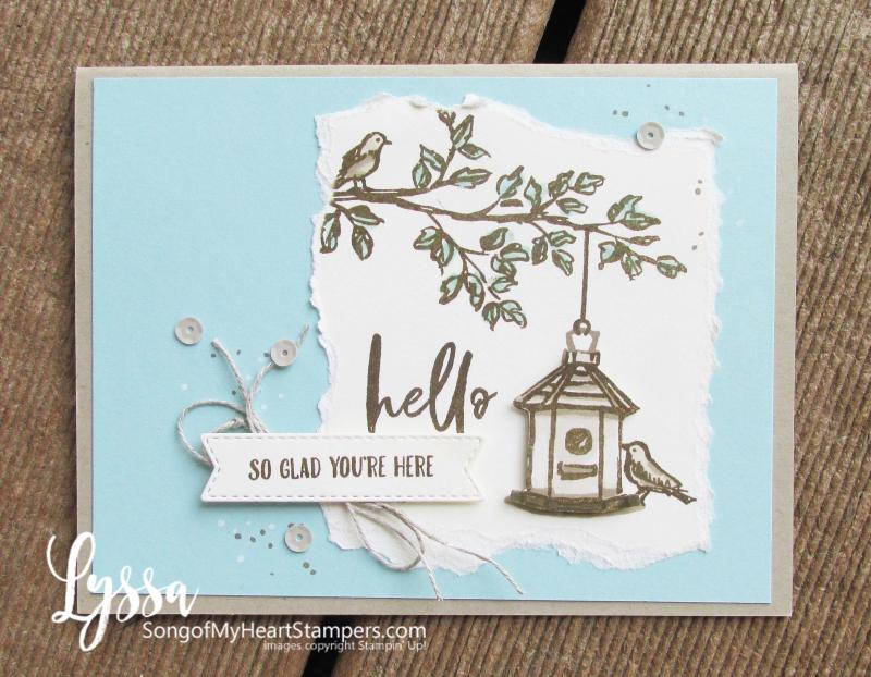 Garden Birdhouses birds Stampin Up Lyssa kraft paper Crumb Cake card ideas chalk marker white ink