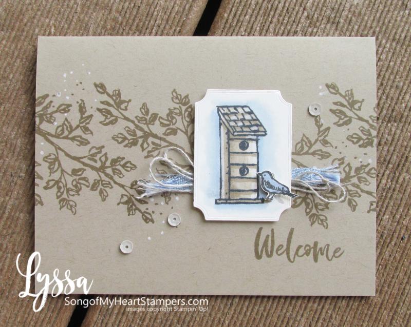 Garden Birdhouses birds Stampin Up Lyssa kraft paper Crumb Cake card ideas chalk marker ink