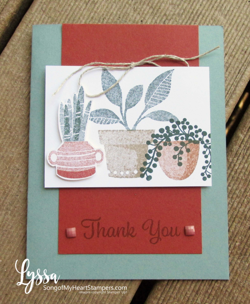 Bloom where planted hanging basket Stampin Up Lyssa houseplant succulent rubber stamp