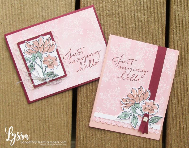 Hand penned petals Stampin Up suite sampler Lyssa memories more merlot ideas
