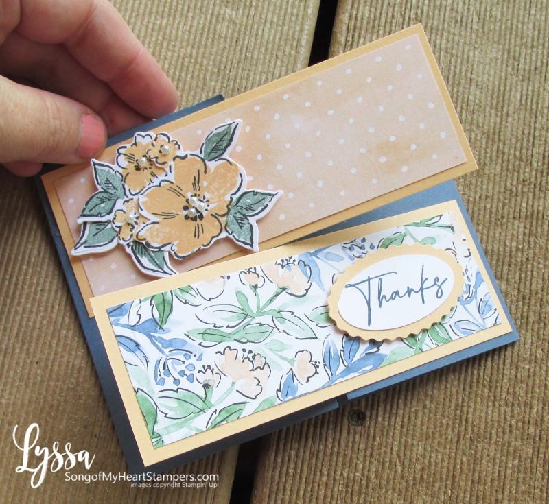 Hand penned petals Stampin Up suite sampler Lyssa memories more card fancy fold ideas