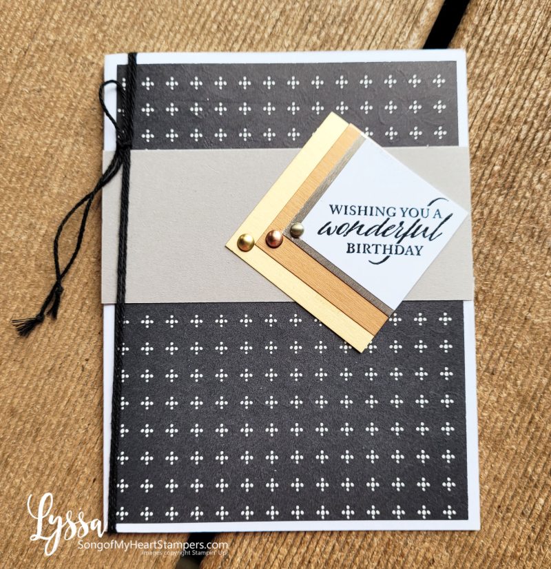 August class month Lyssa simply elegant punch Stampin Up idea masculine birthday