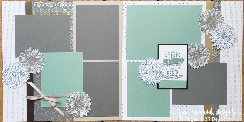 31 days Lyssa pages scrapbooking stampin Up papers Saleabration free dahlia