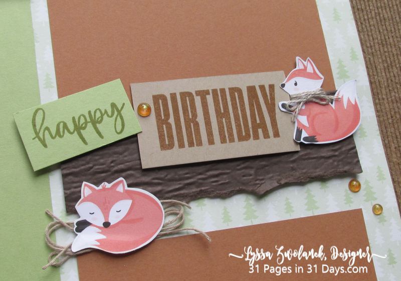 First birthday 31 Pages in 31 Days little foxes forest animals scrapbooking layout idea