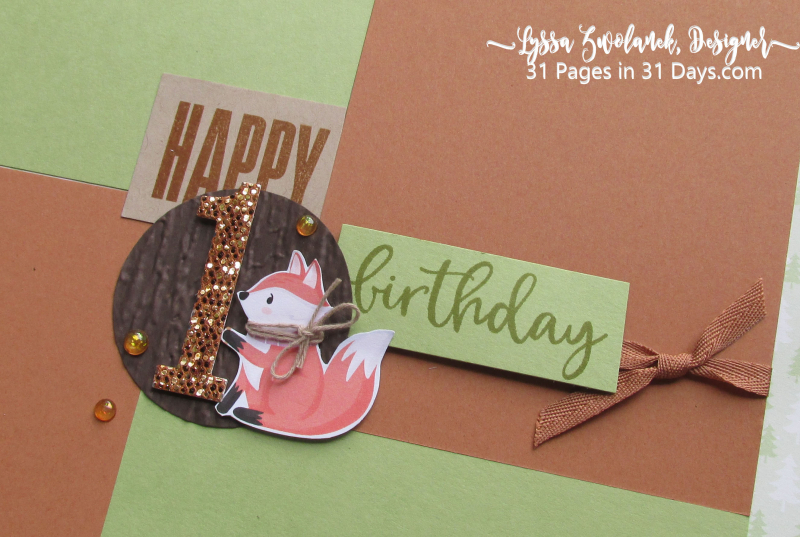 First birthday 31 Pages in 31 Days little foxes forest animals penguin scrapbooking layout idea