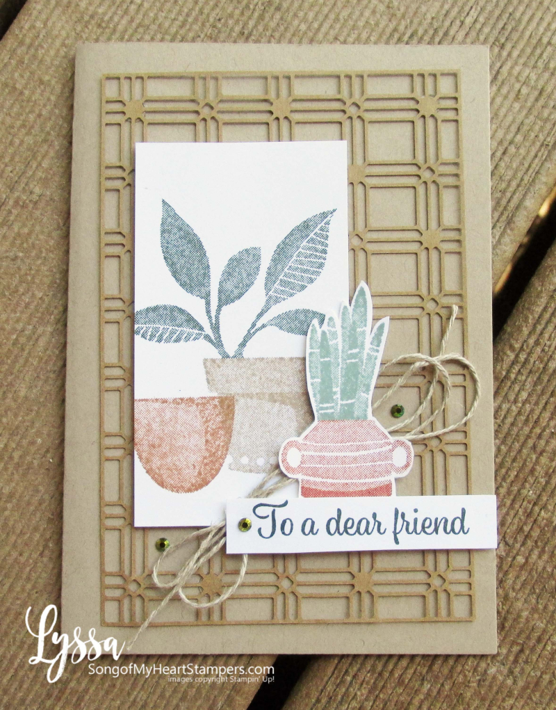 Bloom where planted hanging basket Stampin Up Lyssa houseplant succulent stamps