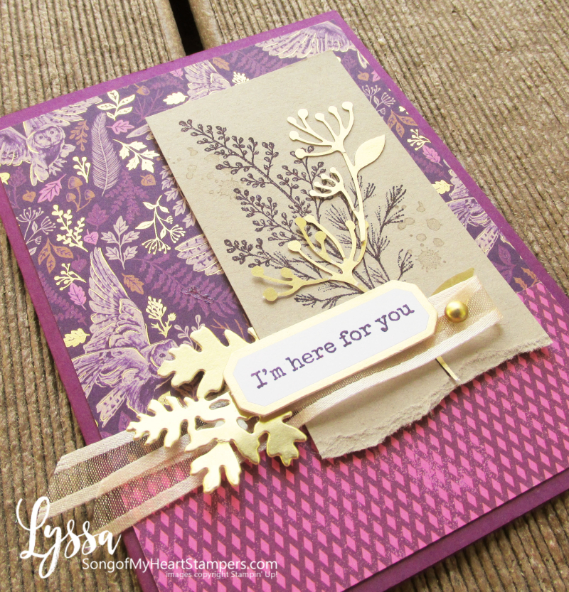 Beauty Blackberry Meadow Stampin Up gold leaves bird papers Lyssa DIY