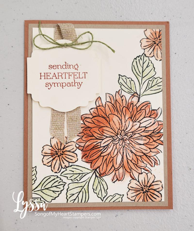 Delicate dahlias class Lyssa Stampin Up studio peach sympathy layout
