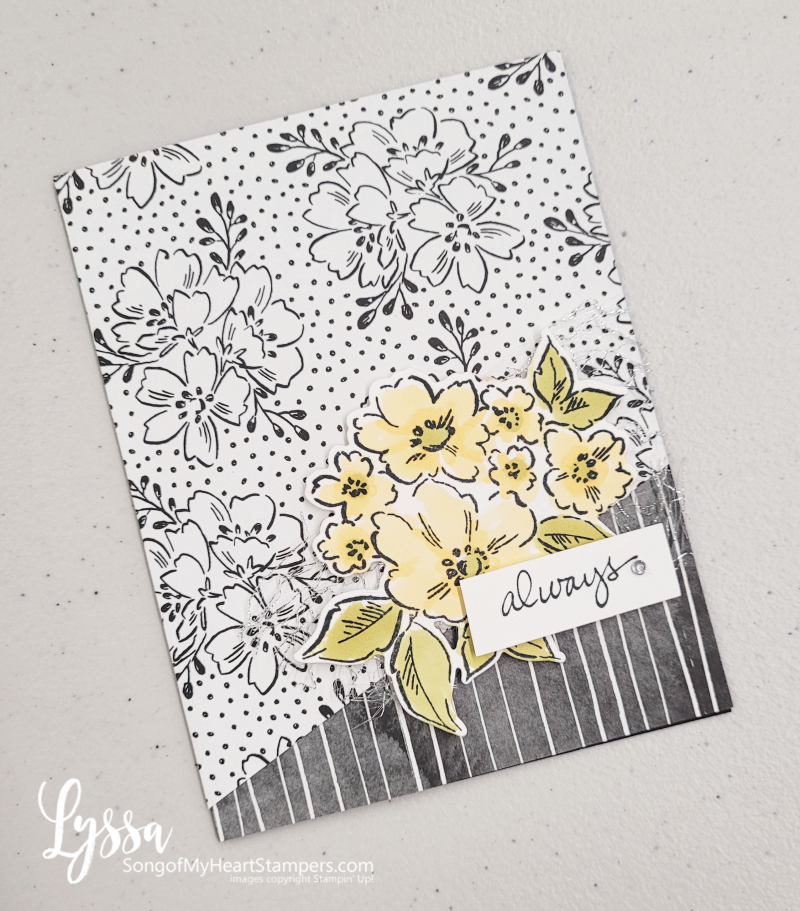 Hand Penned Petals Stampin Up rubber stamps cardmaking black white yellow Lyssa