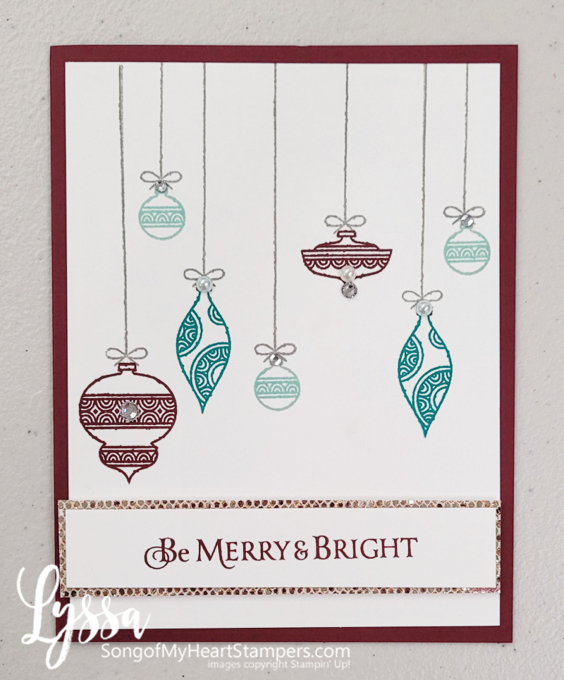 Merry bright Christmas ornaments hanging Stampin Up celebrate wonder holiday