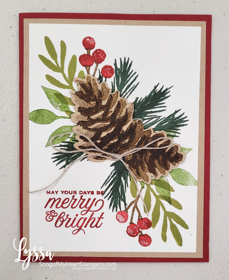 Painted Christmas papers stamps Stampin Up holiday cardmaking DIY Lyssa holly berries